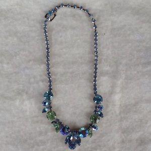 Vintage Crystal/glass blue necklace